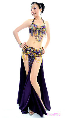 NEW Belly Dance Costume Outfit Set Bra Top Belt Hip Scarf Bollywood 2 PCS