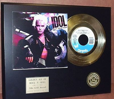 Billy Idol l Don't Need A Gun 24k Gold Record Limited Edition Free USA Shipping
