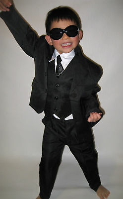 NEW Boys Formal Wedding Christening Black Suit Set SZ 1,2,3,4,5,6,8,10,12,14,16