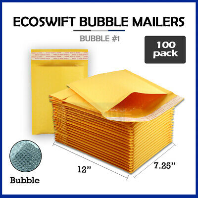 100 #1 7.5x12 KRAFT BUBBLE MAILERS PADDED ENVELOPES #1