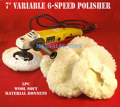 "7"" Variable 6 Speed Electric Car Polisher Buffer W/ 5pc Soft Bonnets"