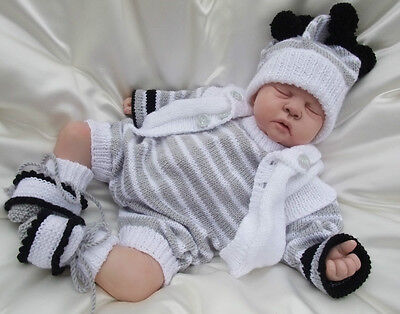 Knitting Pattern To Make 'chester'  Baby / Reborn Doll 4 Piece Romper Set