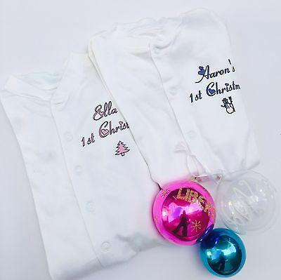 Baby's 1st first Christmas PERSONALISED babygrow/sleepsuit for baby boys & girls