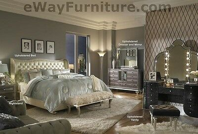 Creamy Pearl White Leather Crystal King Bed Bedroom Set Master Bedroom Furniture