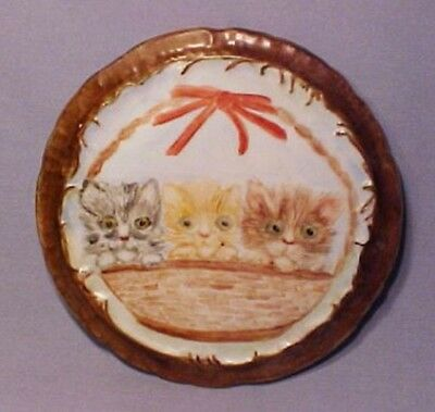 Hand Painted Signed One-of-A-Kind Three Cat Kittens in Basket Trivet Plate