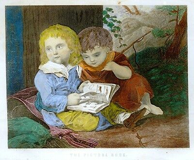 "Hand-Colored Steel Engraving - Peterson's Mag. -c1850- ""THE PICTURE BOOK"""