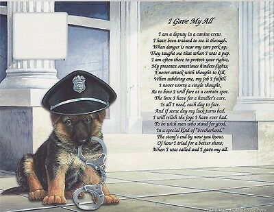 K-9 Service Guardian Working Police Dog Personalize Poem Tribute