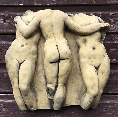 Classical Wall plaque in relief the Three Graces stone home garden plaque 38cm