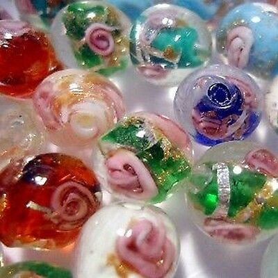 50 pieces Lampwork Glass Beads - K4131 / 12mm Round Mixed
