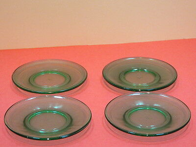 "Akro Agate green strippled band 4- 3 1/4"" plates"