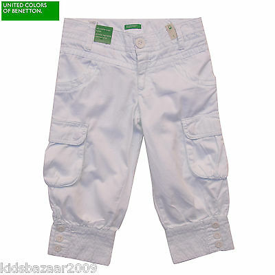 United Colors Of Benetton Girl White Cotton Crop Pants NWT Sz 11-12 Last Chance!