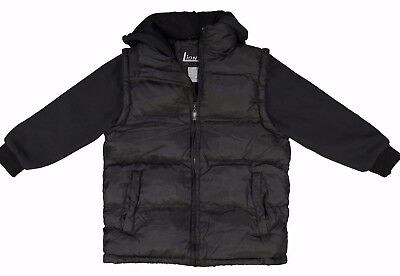 NWT Boy's Puffer Bubble 2-tone Black, Navy or Char 2fer Winter Coat Jacket SIZES