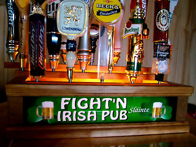 COLOR LED'S FIGHT'N IRISH lighted Tap Handle Stand holds 18 built in bar sign