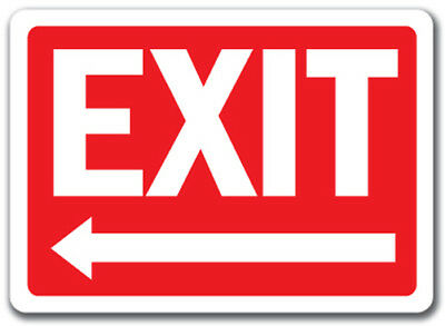"Exit Sign with Left Arrow - 10"" x 14"" OSHA Safety Sign"