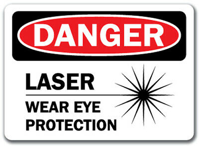 "Danger Sign - Laser Wear Eye Protection - 10"" x 14"" OSHA Safety Sign"