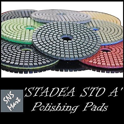 "10 Pcs CUSTOM GRIT: STADEA 5"" Diamond Polishing Pads Wet 4 Stone Concrete Polish"