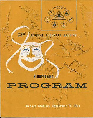 "Lawrence Welk bandmembers (13 sig) on Vintage (1958) ""Pioneerama"" Program cover"