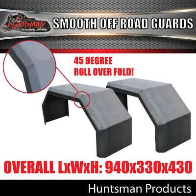 OFF ROAD TRAILER MUDGUARDS, PER PAIR,  SMOOTH FINISH 330mm WIDE AGGRESSIVE FOLDS