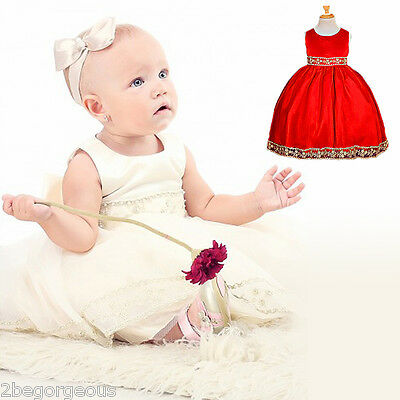 Baby Wedding Flower Girl Bridesmaid Party Occasion Dresses Up Age 6m-10y FG051