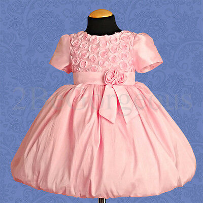 Embossed Rosette Flower Girl Bridesmaid Dresses Party Occasion Age 18M-6 Yrs 066