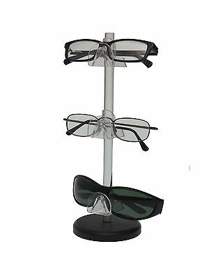 3 Tier  Acrylic SUNGLASSES EYEGLASSES display STAND with Black Base Glasses Nose