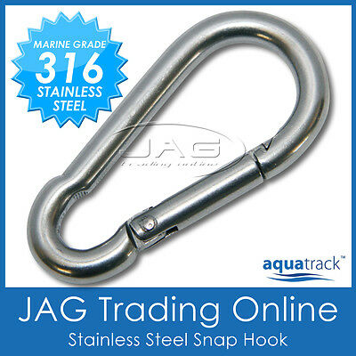 8mm 316 STAINLESS STEEL SNAP SPRING HOOK - Marine/Boat/Sailing/Shade/Sail/4x4