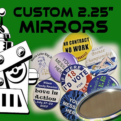 5 Custom Made 2 1/4 inch Pocket Mirrors 2.25""