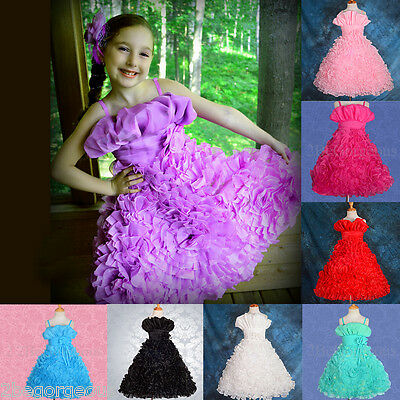 Embossed Rosette Flower Girl Bridesmaid Dresses Party Occasion Age 3-10 Year 132