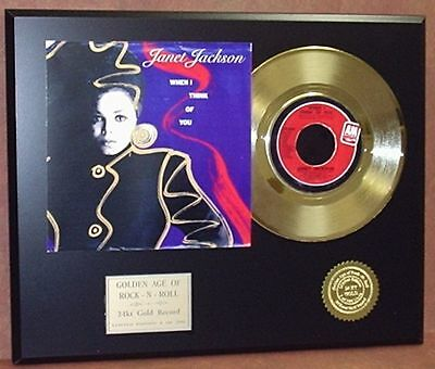 Janet Jackson - When I Think Of You 24k Gold Record Display - Free USA Shipping