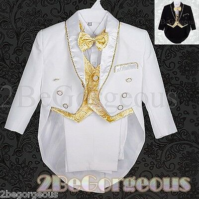 b77da21a6b3a 5PC FORMAL TUXEDO Tail Suit Wedding Page boy Christening Baptism ...
