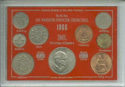 Sir Winston Churchill Commemorative GB Great Britain Crown Coin Gift Set 1965