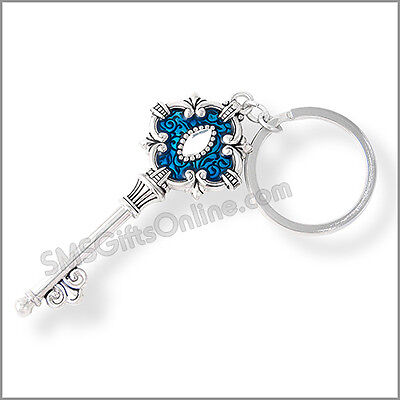 Shiny Silver Vintage Blue Enamel Key Keyring with White Crystal in Organza Bag