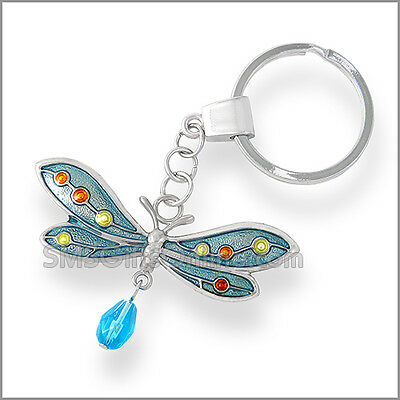Shiny Silver Vintage Enamel Blue Dragonfly Keyring with Crystals in Organza Bag