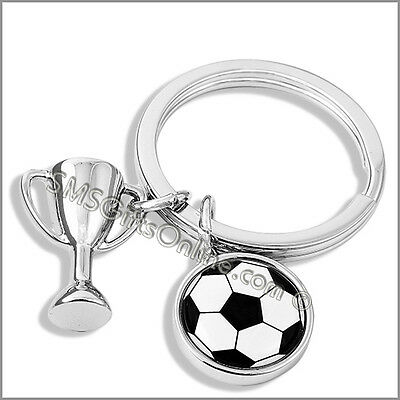 Silver Tone Football Trophy and Enamelled Football Disc Keyring