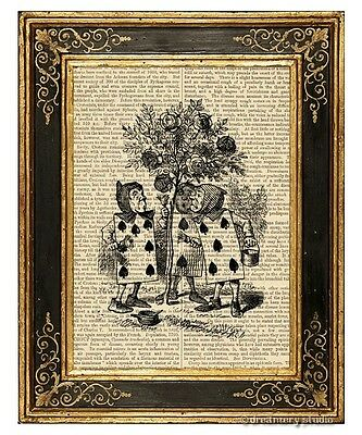 Alice in Wonderland Art Print on Antique Book Page Vintage Illustration Rosebush