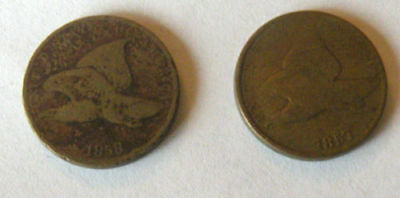 Lot Of 2 Flying Eagle Coins 1857 And 1858
