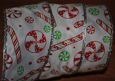 Wired Ribbon~Candy Cane~Peppermint~Christmas~Holiday~Winter~Craft~Wreath~Bow~6yd