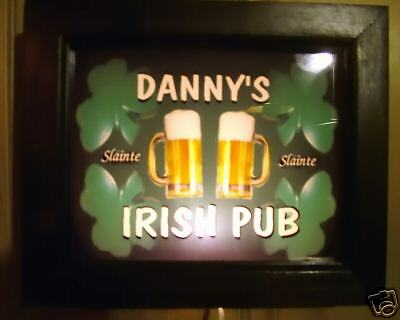 ILUMINATED  IRISH PUB bar sign (PERSONALIZED W/YOUR NAME) LIGHTS UP