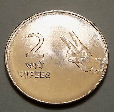 "India - 2009 2 Rupees - KM327 - ""Two Fingers"" ""Peace"" - UNC Condition"