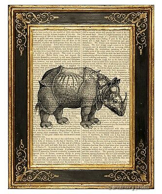 Rhinoceros Art Print on Antique Book Page Vintage Illustration Rhino Horn