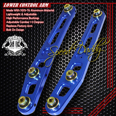 2-PC POWDER-COATED REAR LOWER CONTROL ARMS CAMBER 88-95 HONDA CIVIC CRX LX BLUE