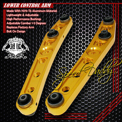 2PC POWDER-COATED REAR LOWER CONTROL ARMS CAMBER 88-95 HONDA CIVIC CRX LX GOLD
