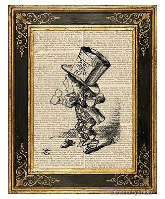 Alice in Wonderland Art Print on Antique Book Page Vintage Illust Mad Hatter 1