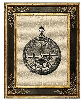 Arabic Astrolabe Art Print on Vintage Book Page Home Interior Decor Gifts