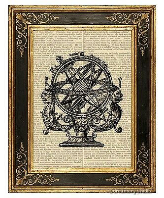 Armillary Sphere 1 Art Print on Antique Book Page Vintage Illustration Globe