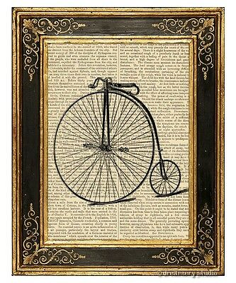 High Wheel Bicycle Art Print on Antique Book Page Vintage Illust Penny Farthing