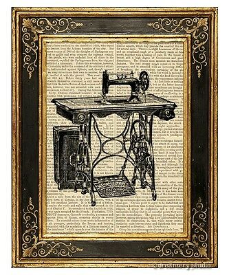 Sewing Machine Art Print on Antique Book Page Vintage Illustration seamstress