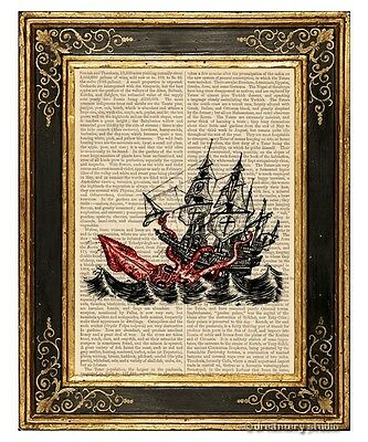 Attack of Kraken Art Print on Antique Book Page Vintage Illustration Sea Monster