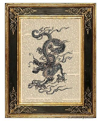 Chinese Dragon Art Print on Vintage Book Page Asian Oriental Office Home Decor