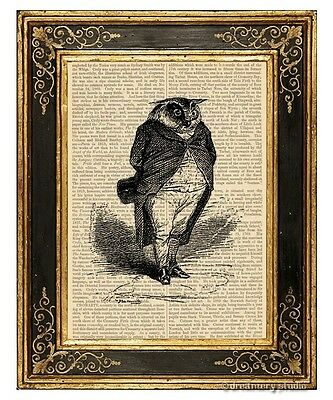 Owl Gentleman Art Print on Vintage Book Page Home Office Hanging Decor Gifts
